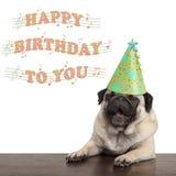 Aanbiddelijke leuke pug puppyhond die gelukkige verjaardag zingen aan u stock afbeelding