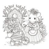 Aanbiddelijke muis kleurende pagina Stock Afbeeldingen