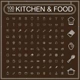 Aanbiddelijke voedsel en keukengerei geplaatste pictogrammen Royalty-vrije Stock Afbeeldingen