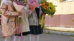 Aanbiddelijke vrouwelijke schoolkinderen met bloemen, kraanschot stock videobeelden