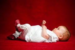 Aanbiddelijke zeven maanden oud pasgeboren cuttie Royalty-vrije Stock Foto's