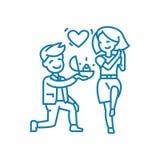 Aanbieding om gehuwd lineair pictogramconcept te krijgen Aanbieding om gehuwd lijn vectorteken, symbool, illustratie te krijgen vector illustratie