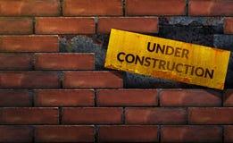In aanbouw Concept, Onvolledig van binnen Gestapelde Bakstenen muur Royalty-vrije Stock Afbeelding