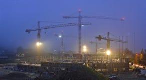 In aanbouw de bouw Nachtscènes Royalty-vrije Stock Afbeelding