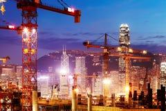 In aanbouw drukken de werken van de Hong Kong-sectie van Guangzhou Shenzhen Hong Kong spoorverbinding uit royalty-vrije stock foto's
