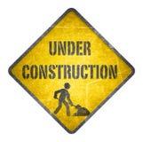 In aanbouw geel teken Stock Foto's