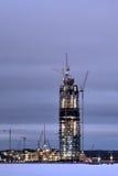 In aanbouw het Centrum van wolkenkrabberlakhta, nachtmening, de winter, royalty-vrije stock afbeeldingen