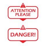 Aandacht tevreden en gevaar Kenteken met gevaarpictogram Vlakke vectorillustratie op witte achtergrond stock illustratie