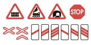 Aandachtsverkeersteken die spoorweg waarschuwen stock illustratie