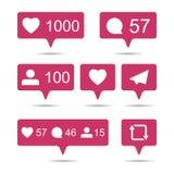Aandeel, als, commentaar, repost sociale media ui pictogrammen op witte rug stock illustratie