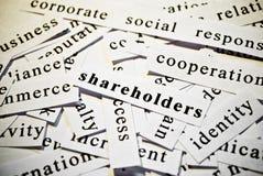 Aandeelhouders. Concept knipselwoorden verwant met zaken. Stock Afbeeldingen