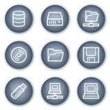 Aandrijving en de pictogrammen van het opslagWeb, minerale cirkel Stock Fotografie