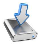 Aandrijving HDD en pijl. Upload 3D gegevenspictogram Stock Foto's
