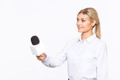 Aangename TV-omroeper die in het werk worden geïmpliceerd stock afbeeldingen