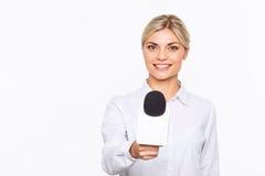 Aangename TV-omroeper die in het werk worden geïmpliceerd stock foto