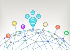 Aangesloten apparaten van de consument zoals notitieboekje, tablet, slimme telefoon, slim horloge met industrieel Internet van di Royalty-vrije Stock Afbeeldingen