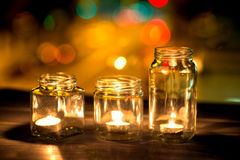 Aangestoken kaarsen Stock Afbeeldingen