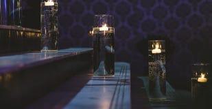 Aangestoken ladder met kaarsen stock foto