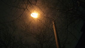 Aangestoken Lamp bij Nacht en Sneeuwdalingen stock videobeelden