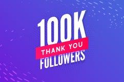 100000 aanhangersvector Begroetend sociale kaart dank u aanhangers De ontwerpsjabloon van de gelukwensen100k aanhanger vector illustratie