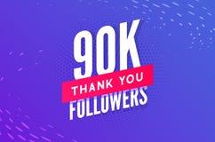90000 aanhangersvector Begroetend sociale kaart dank u aanhangers De ontwerpsjabloon van de gelukwensen90k aanhanger royalty-vrije illustratie
