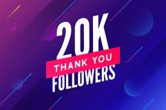 20000 aanhangersvector Begroetend sociale kaart dank u aanhangers De ontwerpsjabloon van de gelukwensen20k aanhanger royalty-vrije illustratie