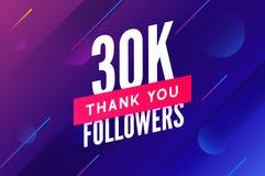 30000 aanhangersvector Begroetend sociale kaart dank u aanhangers De ontwerpsjabloon van de gelukwensen30k aanhanger stock illustratie