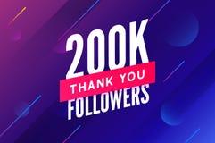 200000 aanhangersvector Begroetend sociale kaart dank u aanhangers De ontwerpsjabloon van de gelukwensen200k aanhanger royalty-vrije illustratie