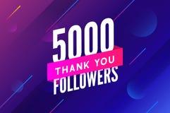 5000 aanhangersvector Begroetend sociale kaart dank u aanhangers De ontwerpsjabloon van de gelukwensen5k aanhanger royalty-vrije illustratie