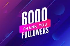 6000 aanhangersvector Begroetend sociale kaart dank u aanhangers De ontwerpsjabloon van de gelukwensen6k aanhanger stock illustratie