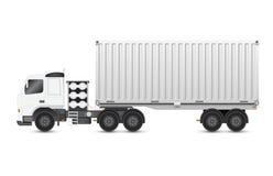 Aanhangwagen en container Royalty-vrije Stock Foto's
