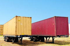 Aanhangwagen met container royalty-vrije stock foto's
