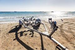 Aanhangwagen voor boten royalty-vrije stock afbeeldingen