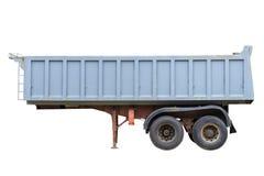 Aanhangwagen voor stortplaatsvrachtwagen op witte achtergrond wordt geïsoleerd die Royalty-vrije Stock Foto's