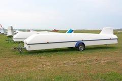 Aanhangwagen voor vervoerszweefvliegtuig stock fotografie