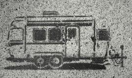 Aanhangwagenverf op asfalt Royalty-vrije Stock Foto's