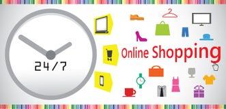 Aanhoudend online het winkelen concept Stock Afbeelding