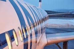 Aankomend bij Ivalo-Luchthaven, Fins Lapland royalty-vrije stock foto