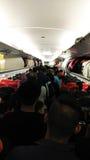 Aankomst in vliegtuig royalty-vrije stock afbeelding