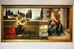Aankondiging, die door Leonardo da Vinci schilderen Royalty-vrije Stock Foto