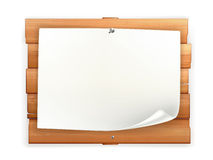 Aankondiging op houten raad Stock Fotografie