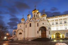 Aankondigingskathedraal van Moskou het Kremlin in de de winteravond royalty-vrije stock foto