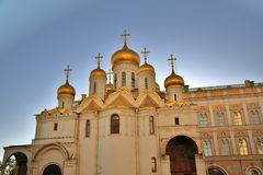 Aankondigingskerk van Moskou het Kremlin De Plaats van de Erfenis van de Wereld van Unesco stock afbeeldingen