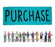 Aankoop die Kleinhandels het Winkelen het Kopen Concept op de markt brengen stock foto