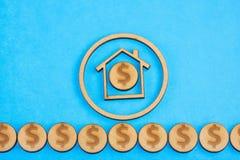 Aankoop en verkoop van huisvesting - Blauwe achtergrond royalty-vrije illustratie