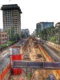 Aanleggen van weg in Bangladesh stock afbeeldingen