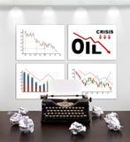 Aanplakbiljetten met crisisgrafiek Stock Foto's