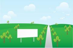 Aanplakbord in de lentelandschap Stock Afbeelding