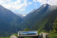 Aanplakbord langs de Gerlos-pas in Oostenrijk royalty-vrije stock afbeelding