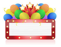 Aanplakbord met ballons en confettien Royalty-vrije Stock Foto
